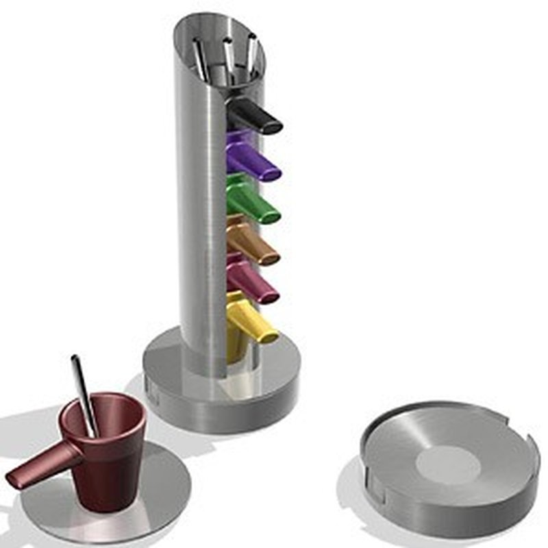 ´CUPstore´-Set mit 6 Espressotassen und Ständer aus Edelstahl