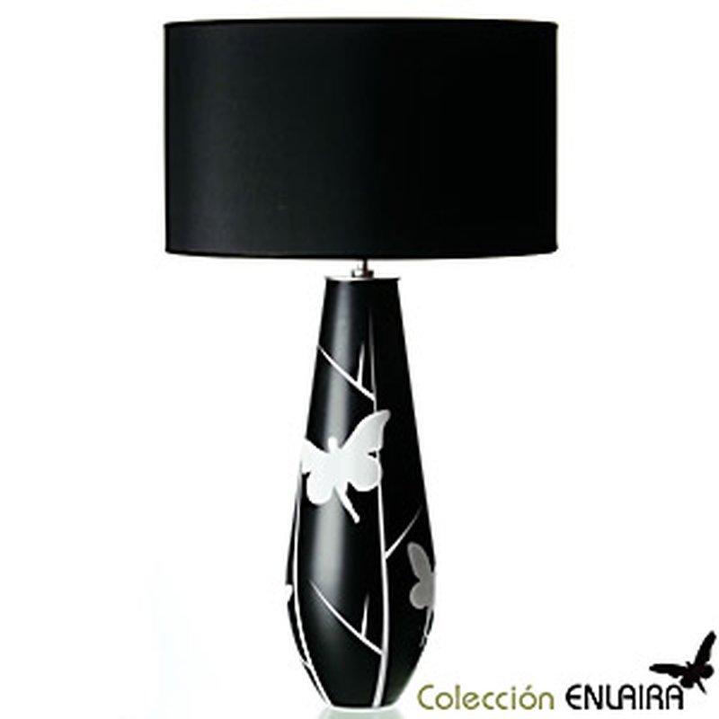 Tisch-Leuchte ´Enlaira´ aus Glas mit schwarzem Schirm aus Stoff