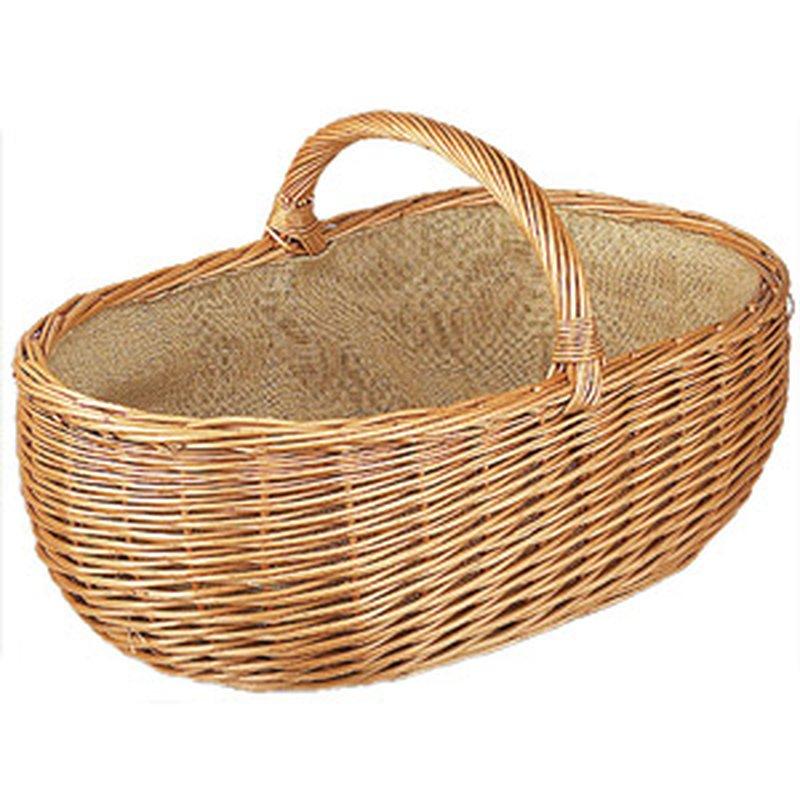 Holz-Korb aus geflochtener Weide mit Stoff-Einlage