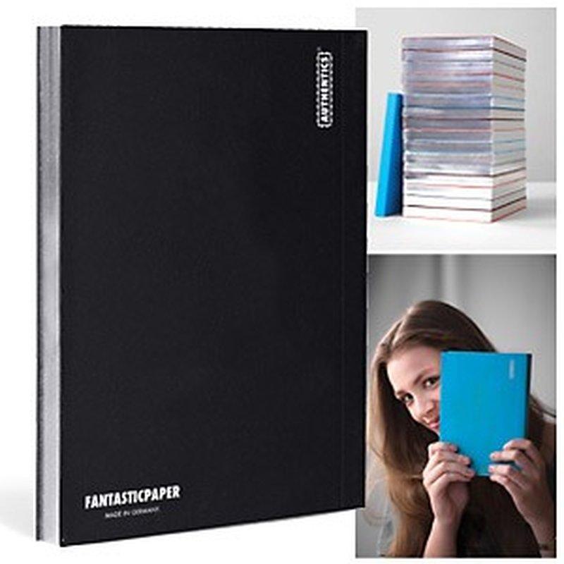 Fantasticpaper Couture Notizbuch A5 kariert, Black mit Silberschnitt
