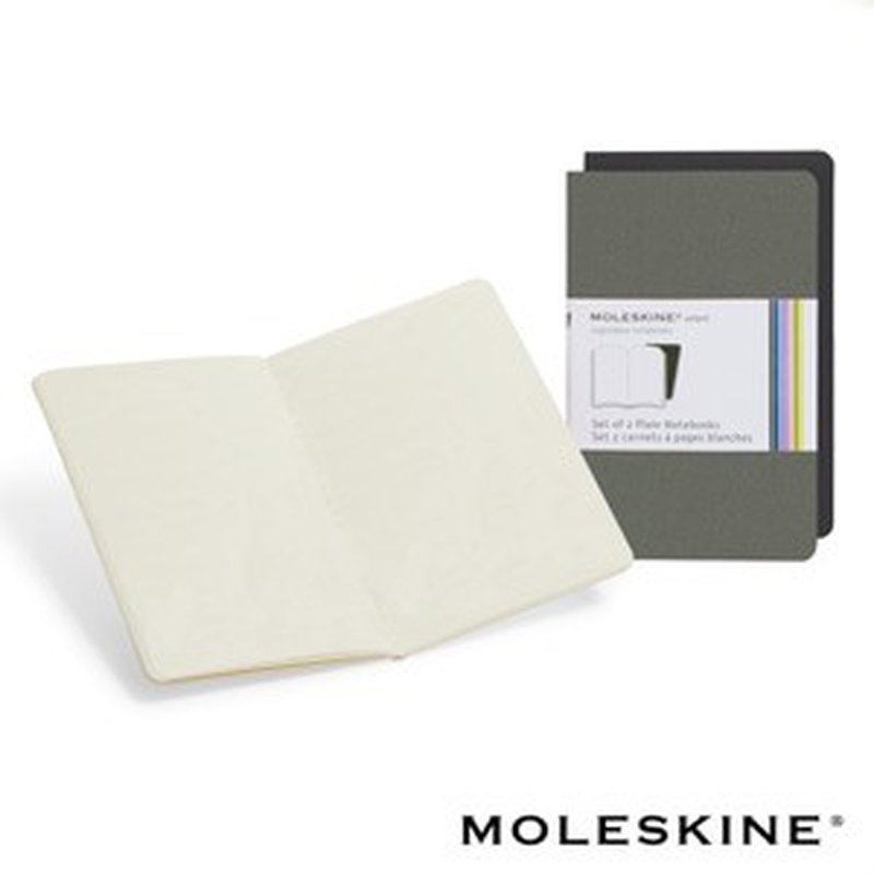 2er Set Moleskine Volant XS Blanko Notizbuch, Grau / Schwarz