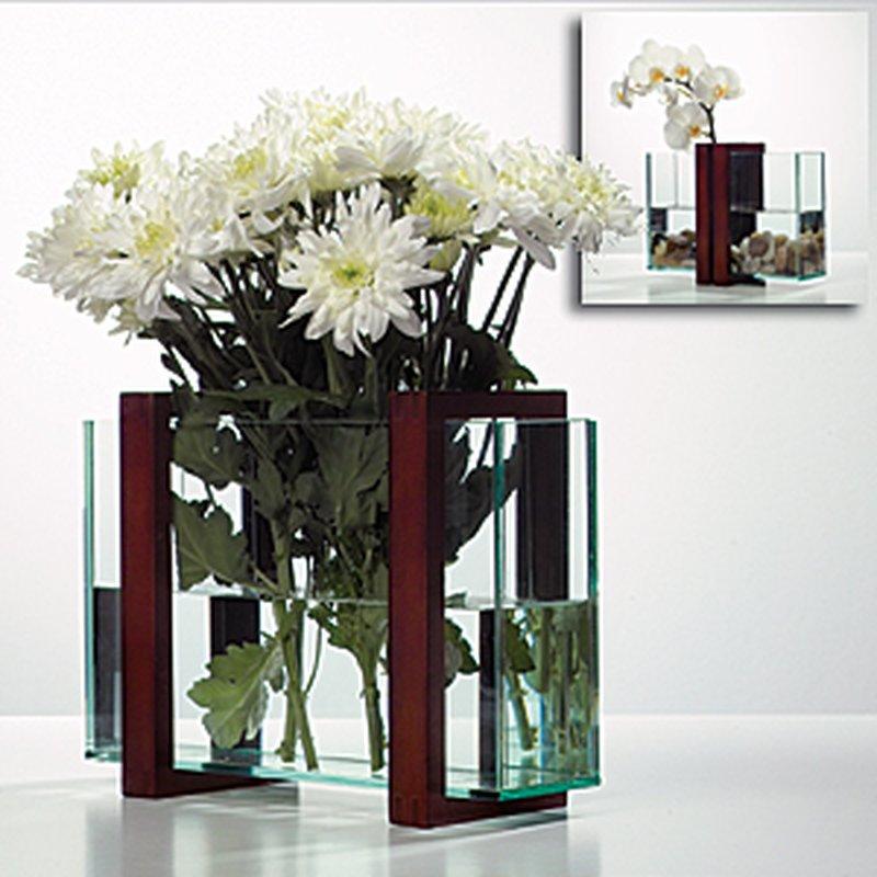 Flex Blumen Vase aus Glas und Buchenholz