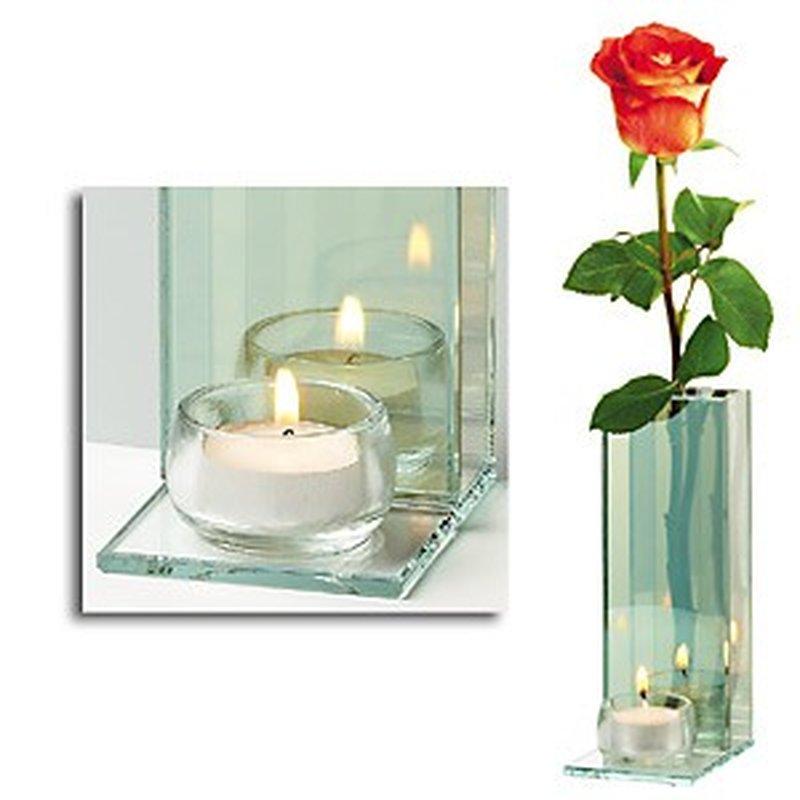 Blumen Vase und Teelicht-Halter ´Double Lightning´ aus Glas