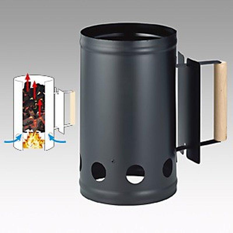 Anzünd-Kamin / Grill-Starter aus Metall mit Holzgriff, Schwarz